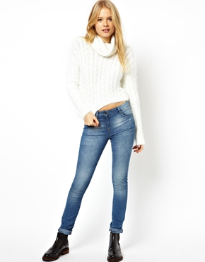 ASOS | ASOS Cropped Roll Neck Jumper in Fluffy Cable Yarn at ASOS