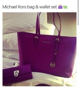 bag michael kors purple wallet