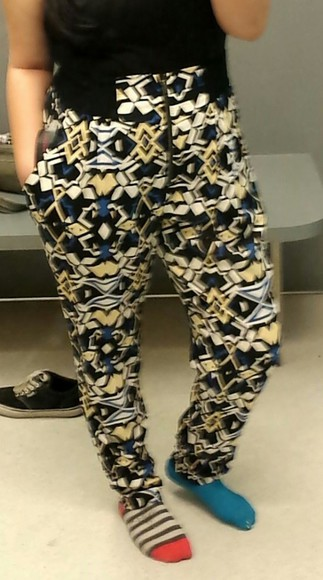 yellow patterned pants