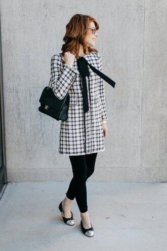 themiddlepage blogger coat leggings bag sunglasses chanel chanel bag ballet flats winter outfits