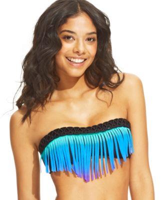 Raisins Fringed Bandeau Bikini Top & Ombre String Bikini Bottom - Swimwear - Women - Macy's