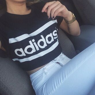 t-shirt adidas black and white jeans crop tops black and white adidas crop top. p top cropped tshirt. cool shirts black white t-shirt white crop tops white top girly top girly style skirt shorts make-up earphones jewels adidas crop shirt adidas top white hipster cute trendy fashion