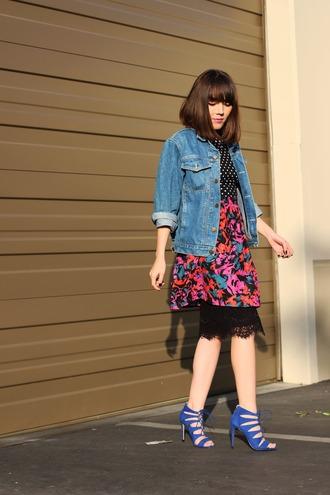platforms for breakfast blogger blue shoes denim jacket lace skirt