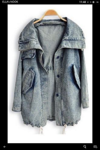 jacket denim denim jacket baggy blue grunge