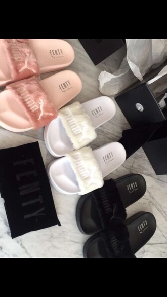 shoes puma slide shoes slippers fluffy sandals white black blush pink puma fenty