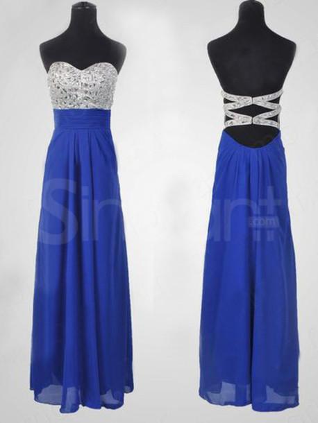 dress royal blue prom dress floor length and sleeveless have some rhinestones