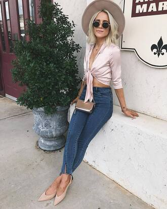 top bag tumblr pink top crop tops felt hat floppy hat denim jeans light blue jeans mens skinny jeans flats slingbacks mini bag sunglasses hat shoes