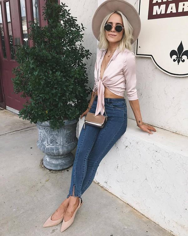 top bag tumblr pink top crop tops felt hat floppy hat denim jeans light blue jeans mens skinny jeans flats slingbacks mini bag sunglasses hat shoes