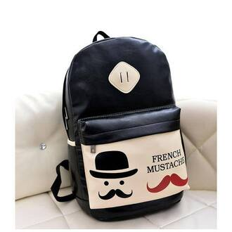 moustache bag backpack pu leather