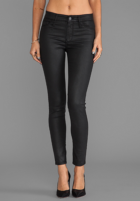 BLACK ORCHID Coated Mid Rise Skinny in Black Night - Skinny