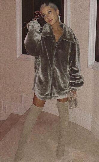 jacket velvet ariana grande instagram boots faux fur