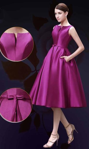 Dress Mid Length Dress Pocket Dress Off The Shoulder Bridesmaid