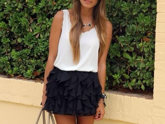 white skirt black short skirt black skirt blouse white blouse ruffled skirt