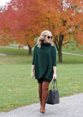 stylin in st. louis blogger sweater leggings shoes bag fall outfits green sweater turtleneck sweater boots over the knee boots handbag