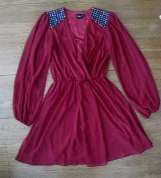 dress skater dress red dress bejeweled dress asos wrap dress burgundy dress cocktail dress