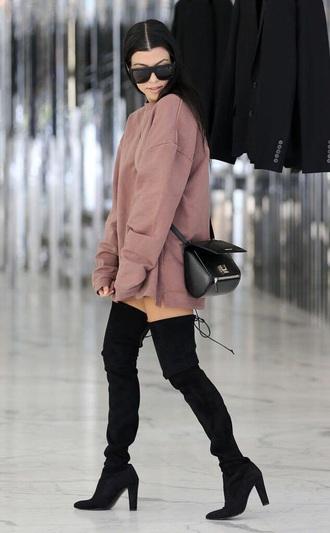shoes black boots black boots thigh highs kourtney kardashian