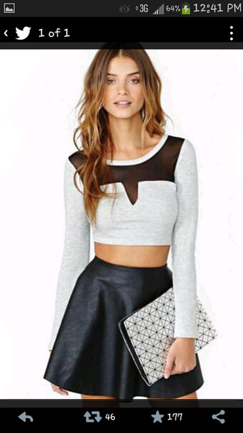 shirt blouse sheer shirt crop tops black top v cut style fashion long sleeves skirt top grey top