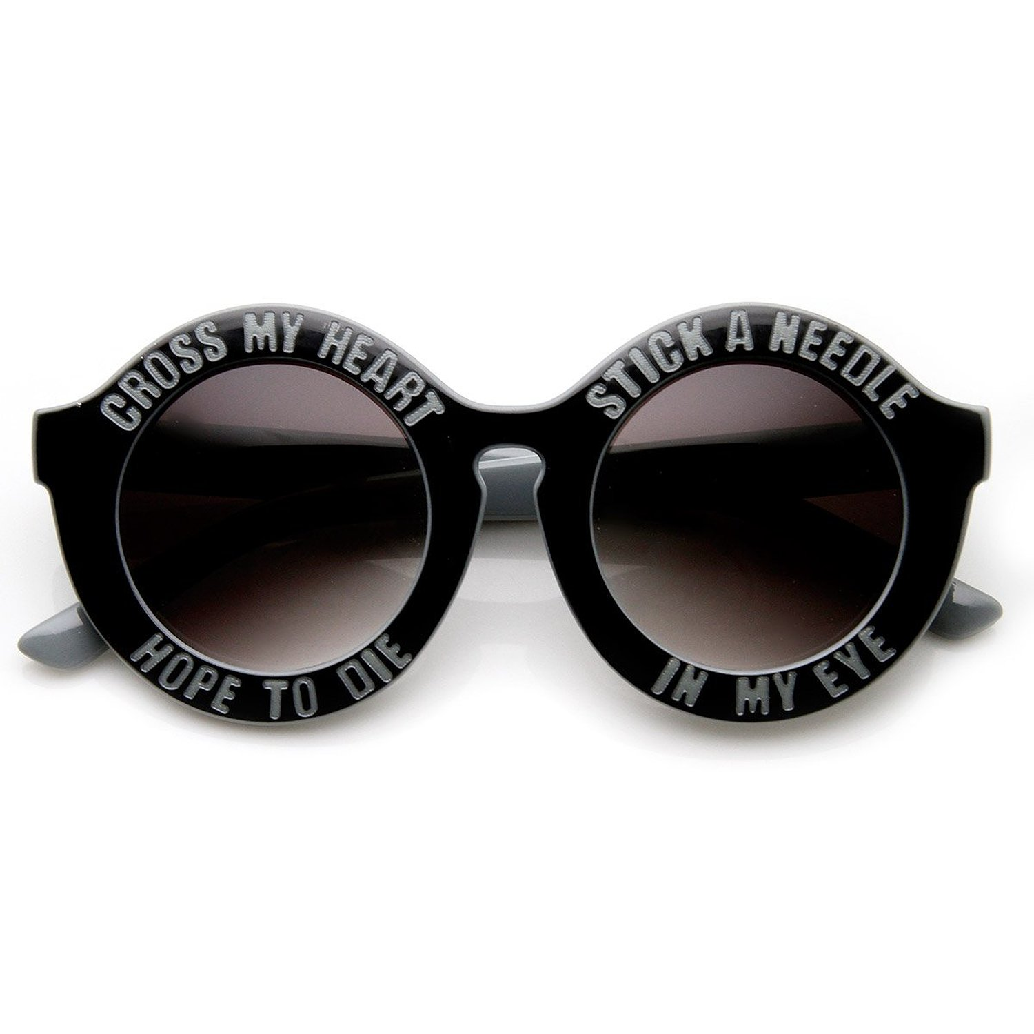 Amazon.com: womens oversized cross my heart text font round sunglasses (gray): clothing