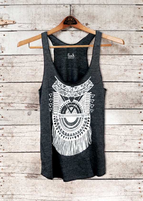 tank top aztec summer t-shirt amazing grey lace fringes bag blouse t-shirt band t-shirt black blouse tanktop. design top shirt black skirt blak top vintage outfit style fashion pattern black grey white t-shirt white black shirt clothes