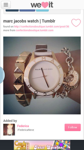 jewels marc by marc jacobs fashion watch white watch golden watch weheartit tumblr