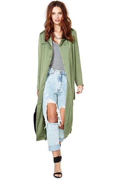 blouse green dress coat midi midi coat jeans
