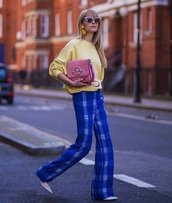 pants,plaid pants,blue pants,sunglasses,cat eye,sweater,yellow sweater,knit,knitted sweater