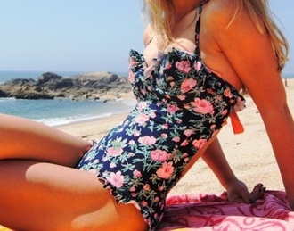 floral summer outfits swimwear one piece swimsuit