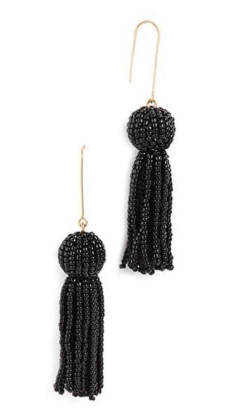 tassel beaded earrings black jewels