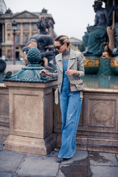 late afternoon,blogger,jacket,shoes,bag,sunglasses,jewels,jeans,gucci,dionysus,overalls,denim overalls,wide-leg pants,leather jacket