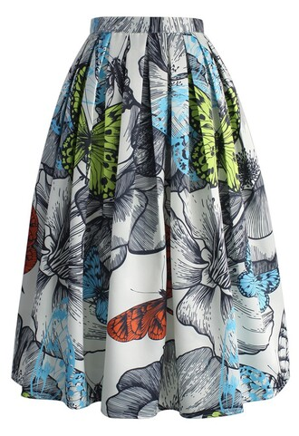 skirt rendered butterfly pleated midi skirt chicwish midi pleated floral