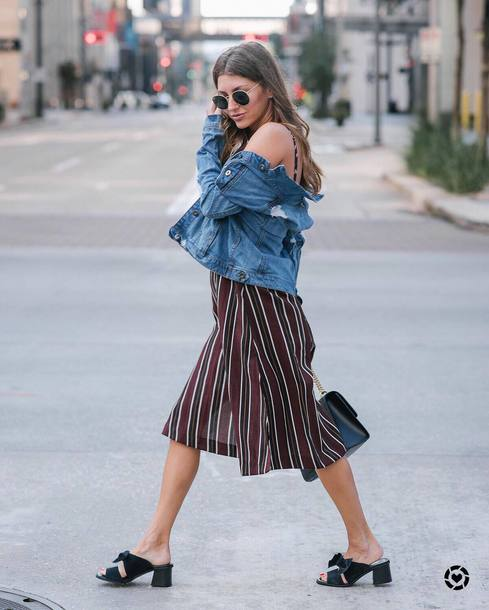 8ae4a1b2b50 dress tumblr midi dress stripes striped dress jacket denim jacket denim  shoes mules black shoes jeans