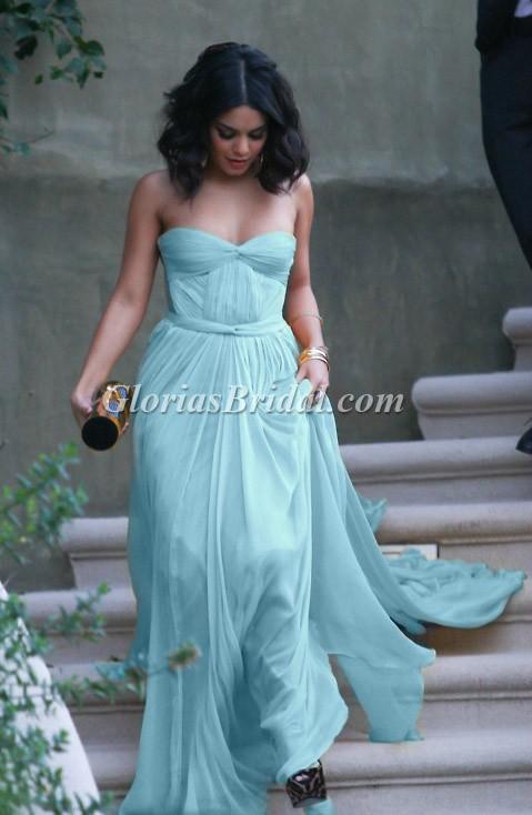 Vanessa hudgens strapless light sky blue strapless prom gown
