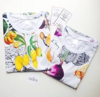 t-shirt printed t-shirt pattern tshirt onion print onion tshirt floral palm tree print fruits print fruits fruits tshirt yeah bunny yeahbunny fall outfits mango mango tshirt lemon lemons european style