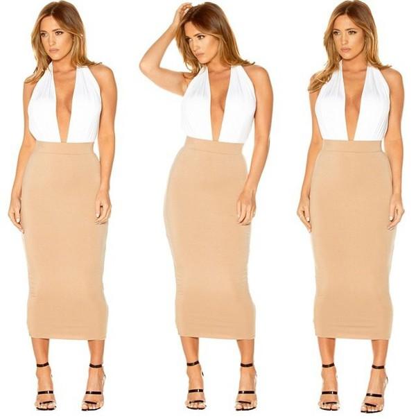 Skirt: fitted skirt, nude skirt, trendy, style, midi skirt, shoes ...