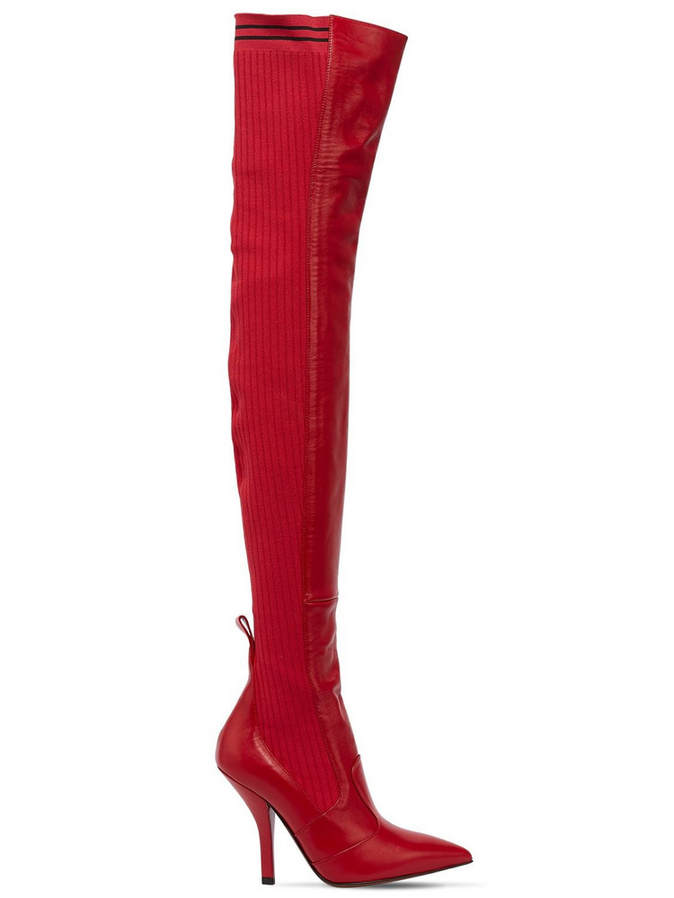 FENDI 105mm Leather & Knit Over The Knee Boots in red