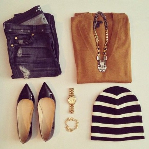 sweater pull hat watch jewels shoes
