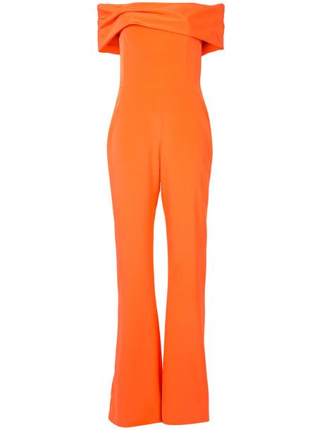 Christian Siriano - off-the-shoulder jumpsuit - women - Silk Crepe - 6, Yellow/Orange, Silk Crepe