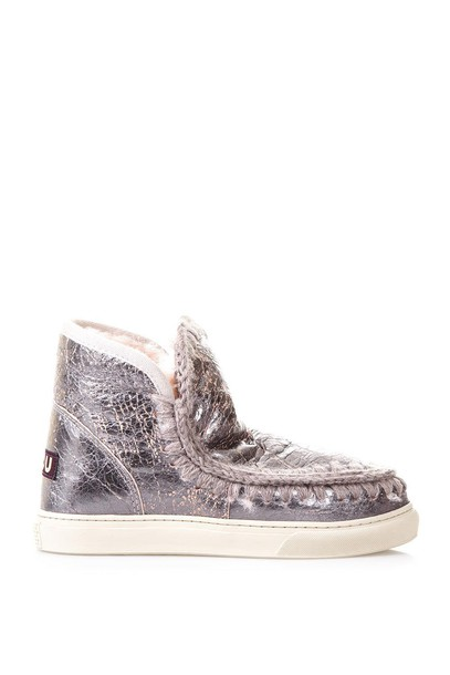 shearling boots mini silver pink shoes