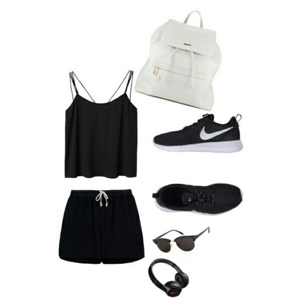 bag white bag nike running shoes black tank top black shorts tank top shorts shoes sunglasses