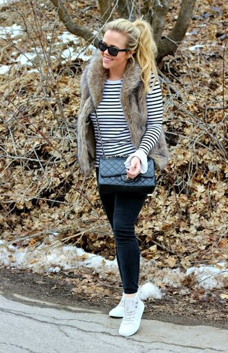 the fashion canvas – a fashion & lifestyle blog blogger sweater jacket pants shoes sunglasses faux fur vest vest chanel bag sneakers