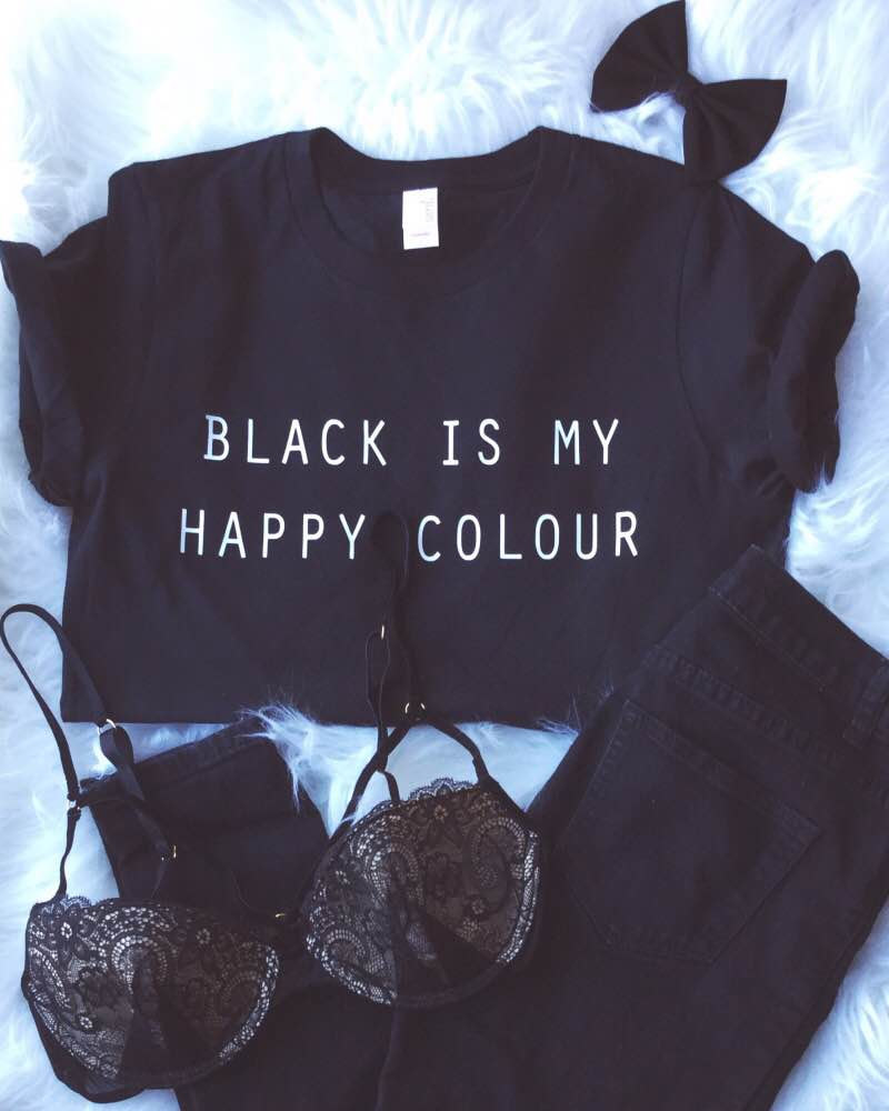 black is my happy colour tshirt tumblr blogger instagram happy color shirt. Black Bedroom Furniture Sets. Home Design Ideas