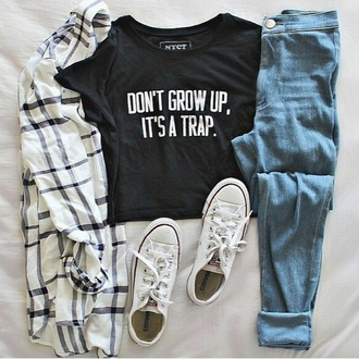 blouse pattern black and white blouse stripes hemd dont grow up its a trap dont grow up black t-shirt funny quote printed t-shirt denim shorts jeans blue jeans white converse chucks platform chucks converse shoes all white whiteout leather summer hot hihjtop converse shoes girls sneakers low top sneakers urban grungy grunge t-shirt streetwear streetstyle shoes