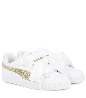 heart glitter sneakers leather white shoes