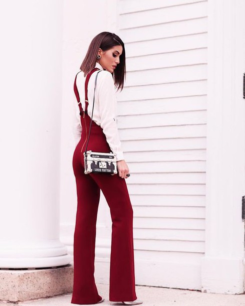 f218bae184ca jumpsuit tumblr red jumpsuits wide-leg pants shirt white shirt bag black and  white