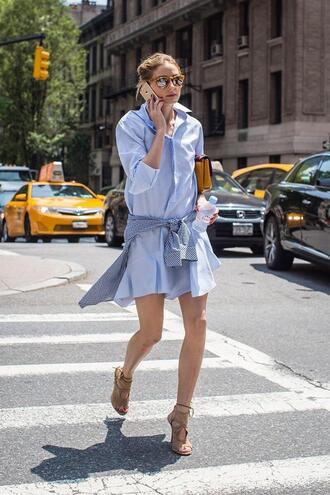 dress olivia palermo shirt shirt dress sandals shoes sunglasses le fashion blogger high heel sandals nude sandals aquazzura aquazzura sandals summer dress blue dress long sleeve dress yellow sunglasses bag yellow bag