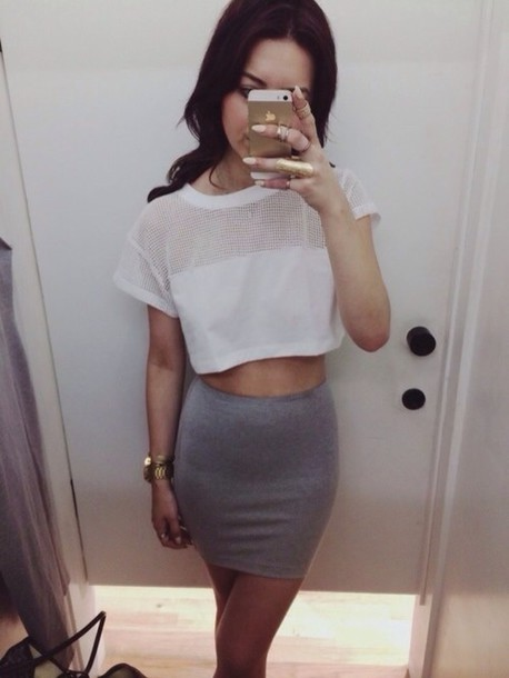 Shirt: mesh crop tops, mesh, mesh shirt, top, white crop ...