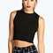 Abigail ribbed high neck crop top