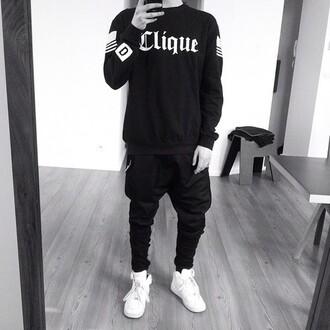 sweater unisex clique stries black white shirt black shirt