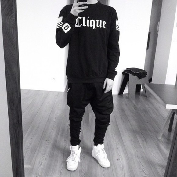 black sweater unisex clique stries white