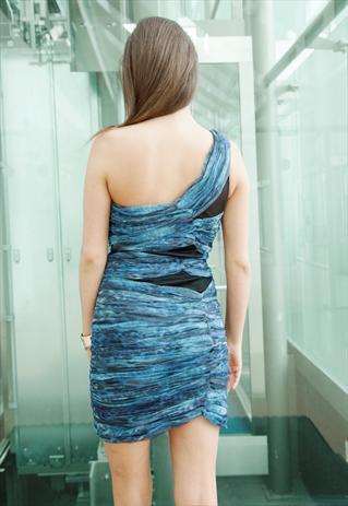 Black & Blue Printed Net Ruche Body Con Mini Stretch Dress   Yan Neo London Boutique   ASOS Marketplace